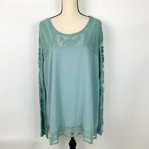 BKE Boutique Teal Lace Tunic Top